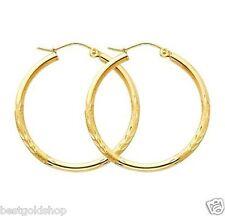 "1""  2mm X 25mm Diamond Cut Hoop Earrings REAL 10K Yellow Gold FREE SHIPPING"