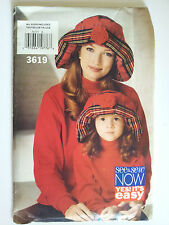 Uncut Sewing Pattern, Butterick See & Sew 3619,Misses & Childrens Hat, All Sizes
