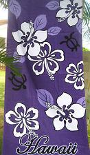 """Hawaiian Hawaii Beach / Pool / Bath Towel 60"""" x 32"""" ~ PURPLE HIBISCUS & TURTLES"""