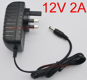 AC/DC 12V 2A Switching Power Supply adapter 2000mA DC 5.5mm x 2.5mm UK plug New