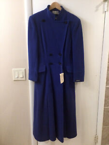 Womens Long Wool Coat Blue Size S 100 % Cashmere Military Style Coat Vintage