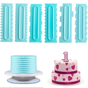 Cake Decorating Comb Icing Fondant Spatulas Smoother Scraper Pastry Baking Tool.