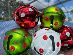 Grinch Christmas Ornaments Balls Bells Whimsical Tree Decor Polka Dots 6 Set New