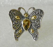 Oxidized Bali Design Sterling Silver & 18K Gold Citrine Butterfly Ring - 8
