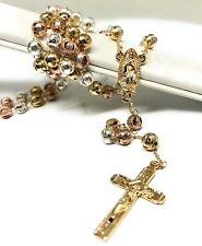 "20"" Gold Laminated Tri Color Rosary With Guadalupe Jesus Cross Crucifix 6mm Bead"