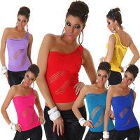 Damen Netztop Top Löcher T-Shirt Gogo One Shoulder Dance Party Mode Oberteil S