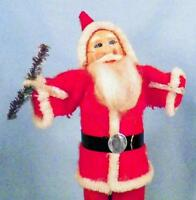 Vintage Santa Claus Figure Cotton Batting Bottle Brush Tree Christmas Kringle CC