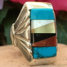 VINTAGE LARGE NATIVE AMERICAN ZUNI STERLING TURQUOISE MOP CORAL JET RING SZ 10.5