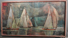 Vintage Modern Cubist Oil Painting 1950's Sailboats Regatta C G Allen Ships Sea