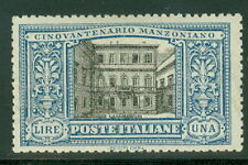 ITALY #169 1lira blue & black, og, NH w/some slight toning, VF, Scott $415.00
