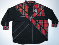 Coogi Embroidered Plaid Check Crest Spell Out Black Mens Long Sleeve Shirt 4XL