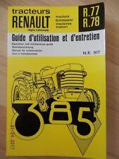 Notice d'utilisation Tracteurs RENAULT 385 R.77 et R.78