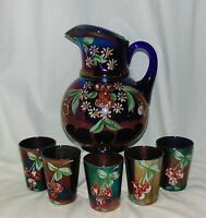 Northwood CHERRIES & LITTLE FLOWERS COBALT BLUE CARNIVAL *6PC WATER PITCHER SET*