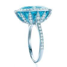 New Fashion Women 925 Silver Blue & White Topaz  Ring Wedding Engagement Sz 6-10