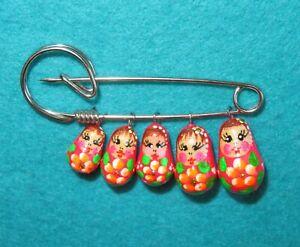 BRIGHT PINK Brooch Charm Pin Matryoshka RUSSIAN Babushka DOLLS Tiny Party Gift