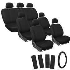 23pc Set All Solid Black Van Seat Covers FREE Steering Wheel-Belt Pads-Head Rest