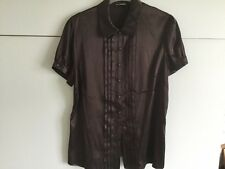 Autograph Ladies Brown Satin Look Short Sleeved Blouse Size 14