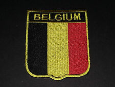 BACKPACKERS NATIONAL COUNTRY SHIELD FLAG SEW/IRON ON PATCH:- BELGIUM