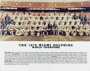 1972 MIAMI DOLPHINS 8X10 PHOTO PICTURE NFL WORLD CHAMPS