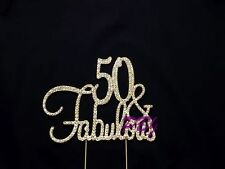 50 & Fabulous GOLD Cake Topper Birthday Party Decor Rhinestone Crystal