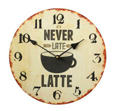 Reloj de pared 30cm con fijación en Madera Café Diseño Never también Late Para
