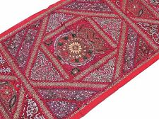 Hot Pink Kundan Beaded Sari Tapestry Ethnic Decorative Wall Hanging Textile 60""