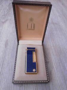 RAR Dunhill Feuerzeug USRE24163 gold blau-meliert Gasfeuerzeug + Orig-Schatulle