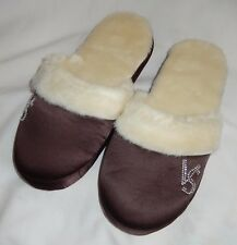 VICTORIA'S SECRET Rhinestones Sherpa Plush Brown Slippers Shoes Slides Large
