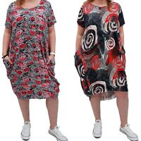 Wolfairy Plus Size Summer Dress Boho Floral Jersey Short Sleeve Lagenlook