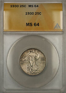 1930 Silver Standing Liberty Quarter Coin 25C ANACS MS-64 (11)
