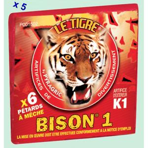30 Pétards à Mèche le Tigre Bison 1 - Hauteur 7.5 cm - Diamètre 1.3 cm, Le Tigre