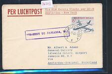 45573) KLM FF Amsterdam - New York 16.4.60, cover Brief ab Belgien