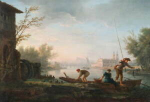 Claude Joseph Vernet The four times of day Morning Poster Giclee Canvas Print
