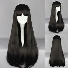 Ladieshair Cosplay Wig Perücke schwarz 70cm glatt Karneval Halloween F7T