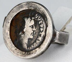 Ring ROMAN EMPIRE Antique coin STERLING SILVER Denarius LEGIONER Emperor ROMA An
