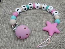 Chupetero bebe personalizado elige nombre + REGALO bolsa regalo rosa gris