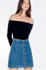 American Apparel Denim Jean Button Down Front A-Line Skirt Dark Wash Indigo L