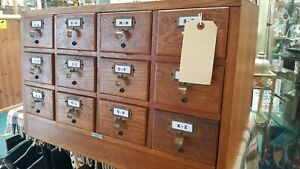Libraco Mid Century Gold Oak Library Pharmacy Card Index System Filing Cabinet