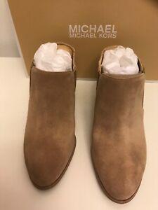 MICHAEL KORS Braden Tan Suede Leather Mule Slip On Heel Size 8.5 NIB