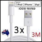 3 X 3M USB Data Charger Lightning Cable Apple iPhone 7 6 6Plus 5 5S 5C iPad Mini