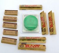 5 Raw Kingsize Slim Rolling Paper with Grinder & Perforated Natural Hemp Tips.