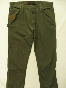 WRANGLER RIGGS WORKWEAR RIPSTOP~MINT!!~ARMY GREEN COTTON CARPENTER JEANS-40X32