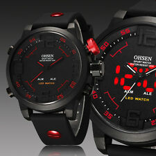 OHSEN Mens Military Army Red Digital & Analog Sport Quartz Stop Watch Waterproof