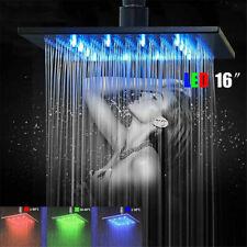 LED Light 16-inch Rainfall Shower Head Bathroom Square Top Sprayer Black Color