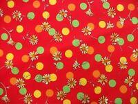 Coupon tissu Imprimé Pois Multicolores et Fleurs sur fond Rouge 60x40cm