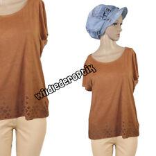 Wildlederoptik Jersey Stretch Cut Out Shirt Bluse T-Shirt Cognac NEU Gr.40  42 7f47b8bec1