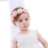 Newborn Flower Headband Pink Ribbon Headbands Girls Lace Hair Bands Headwear~