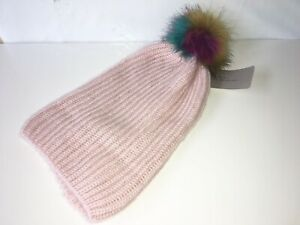 ZARA BEANIE Pastel PINK Knit with FAUX FUR POM POM Women's Size MEDIUM M NWT