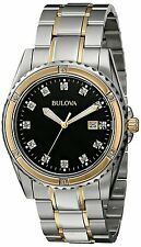 Bulova Men's 98D122 Diamond Accents Quartz Black Dial Two-Tone Bracelet Watch
