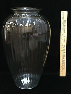 "Large Vase Glass Urn 12.5"" Tall Anchor Hocking Clear Vertical Ribbed"